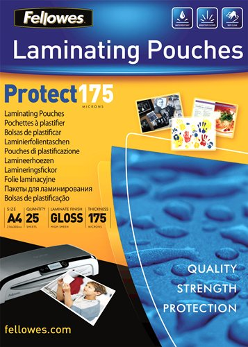25er Pack Fellowes 5325701 Laminierfolien Protect 175 Mikron DIN A4