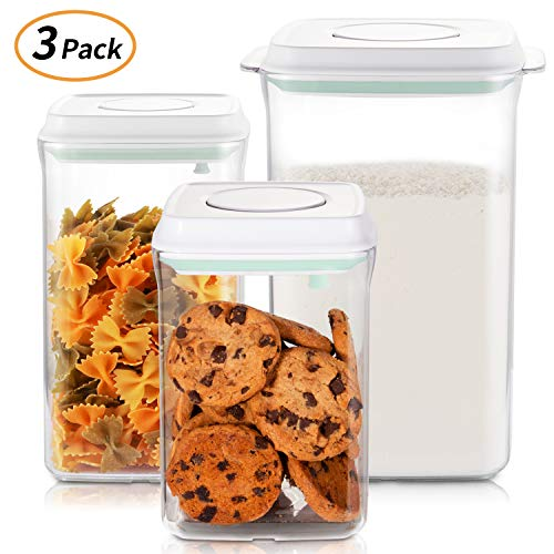 Food Storage Containers Set, Airtight Seal Canisters with POP – UP Lids for Kitchen Pantry Organization and Storage – Clear Plastic Jar BPA Free for Cereal, Snacks, Flour, Sugar-1Qt+2.1Qt+4.2Qt