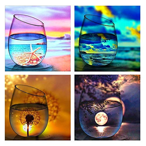 Onlyesh 5D Diamond Painting Full Drill 4 Pack Landscape Painting for Wall Decor Diamond Painting Kits for Adult Kids (4pcs)