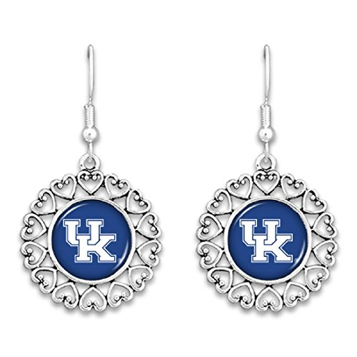 FTH Kentucky Wildcats Logo Circle Earrings with Hearts