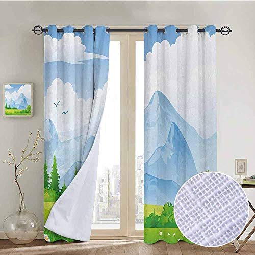 NUOMANAN Kitchen Curtains Nature,Summer Meadow with Daisy Flower Field with Mountain Happy Eco Landscape,Lime Green Light Blue,Rod Pocket Drapes Thermal Insulated Panels Home décor 84