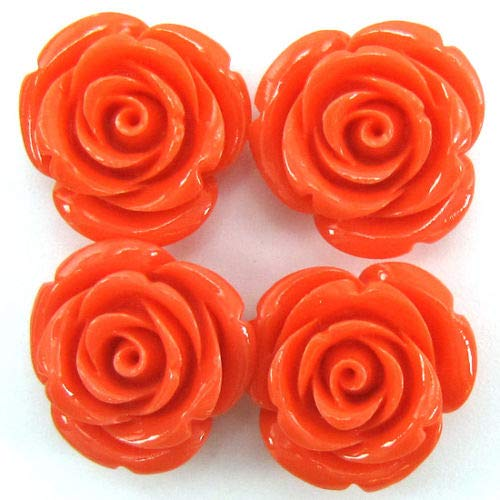 8 24mm Synthetic Coral Carved Rose Flower Pendant Bead Rose Pink