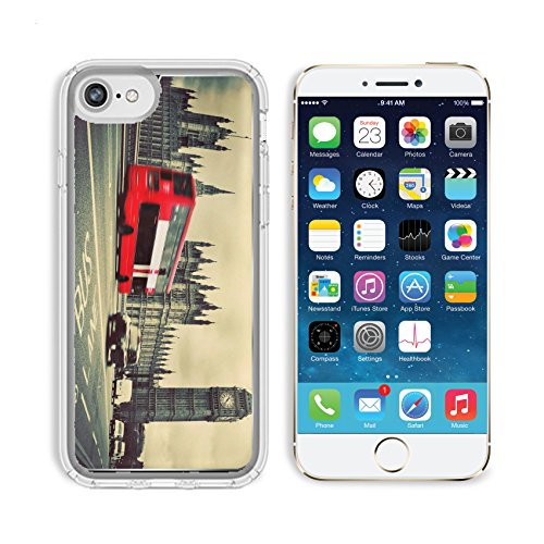 Luxlady Apple iPhone 6/6S Clear case Soft TPU Rubber Silicone Bumper Snap Cases iPhone6/6S IMAGE ID: 25077156 London the UK Red bus in motion and Big Ben the Palace of Westminster The icons of England (About You Westminster All)