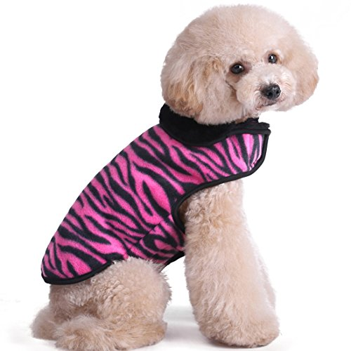 Kuoser Cute Zebra pattern Furry Fleece Lining Dog Vest Winter Coat Warm Dog Apparel for Cold Weather Dog Jacket for Small Medium Large dogs with Furry Collar ( S - 2XL ), Red M