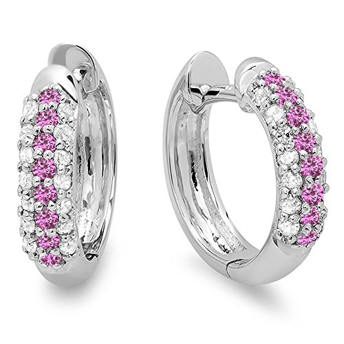 Pink Sapphire White Gold Jewelry Set - 10K White Gold Round Pink Sapphire & White Diamond Ladies Pave Set Huggies Hoop Earrings