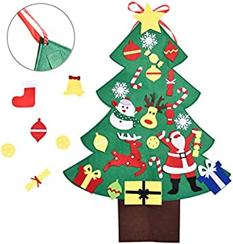 DIY Christmas Tree 3FT for Kids with 28PCs Felt Christmas Tree,Ornaments,  Classroom Door \u0026 Wall Decorations, DIY Toys, Party Favor