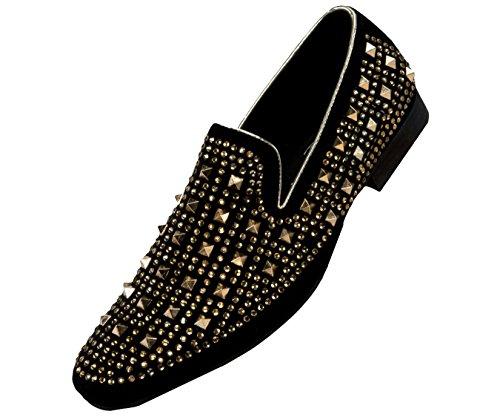 Amali Mens Metallic and Studded Smoking Slipper Loafer Dress (Metallic Dress Shoes)