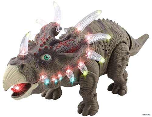 Memtes Walking Triceratops Dinosaur Toy Realistic Sounds and Fun Lights, Walks and Roars!