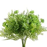 Nahuaa Artificial Shrubs, 4PCS Outdoor Fake Boston Fern Faux Succulent Plants Plastic Bushes Bundles Table Centerpieces Arrangements Home Kitchen Office Windowsill Spring Decorations