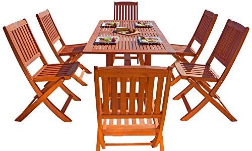 Malibu Patio Set - Malibu V189SET7 Eco-Friendly 7 Piece Wood Outdoor Dining Set with Foldable Chairs