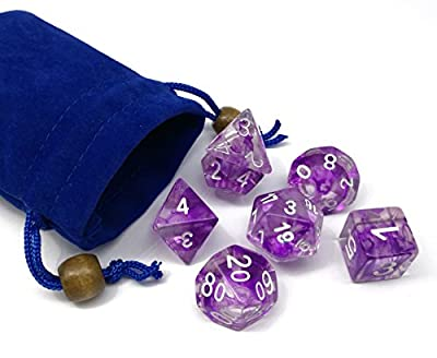 Hengda dice Polyhedral 7-Dice Set Nebula Color Gaming Dice for Dungeons and Dragons DND RPG MTG Table Games Dice