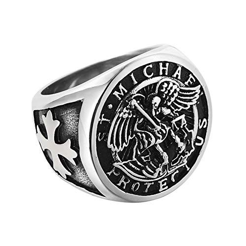 Sping-Jewelry-Anillo-de-San-Miguel-con-Medalla-catolica-de-angel-de-Titanio-tamano-7-13