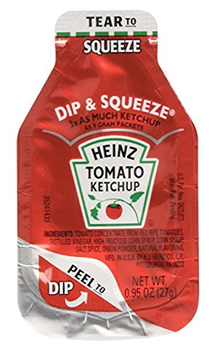 (Heinz Tomato Ketchup, 0.95-Ounce Single Serve Packages (Pack of 50) --- 3x More Ketchup Than The Standard .32oz Packets)