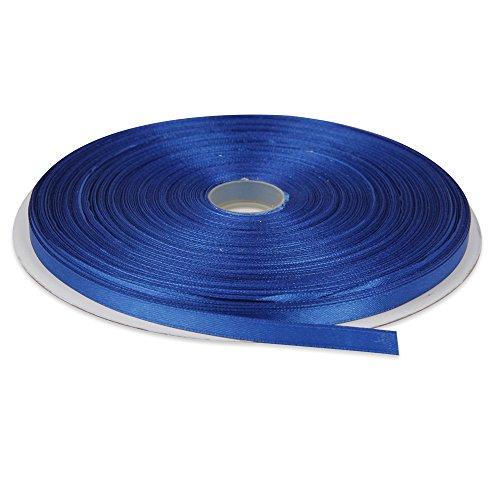 Topenca Supplies 1/4 Inches x 50 Yards Double Face Solid Satin Ribbon Roll, Royal Blue