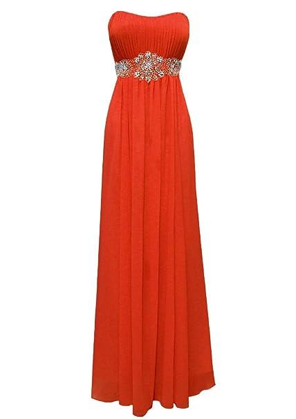 Amazon.com: Strapless Chiffon Goddess Long Gown Prom Dress ...