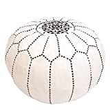 Baba Souk Moroccan Leather Pouf, White & Black - Free + Fast Shipping from Canada