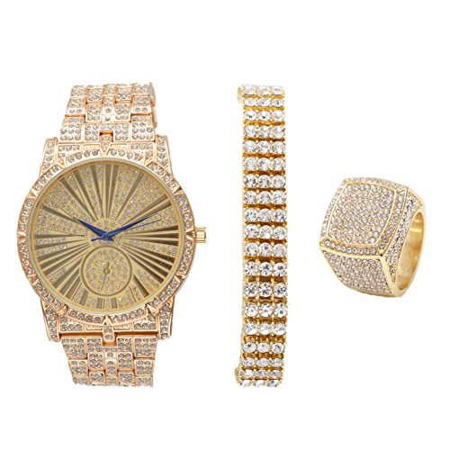 Bling-ed Out 3 Row Tennis Men's Bracelet with Hip Hop Roman Numeral Dial Gold Watch - L0503G3RT3Set(10)