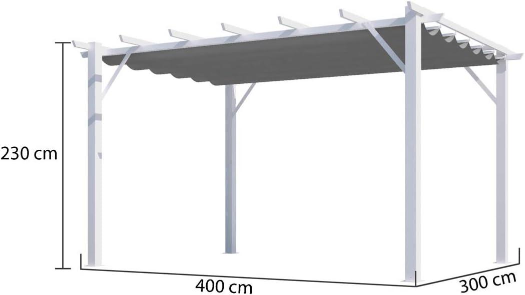HABRITA - Pérgola 100% de Aluminio, Color Gris, 12 m2, Estructura ...