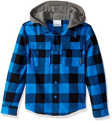Columbia Boys' Little Kids Boulder Ridge Flannel Hoodie, Super Blue Buffalo Plaid, X-Small