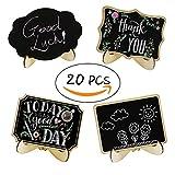 Winterworm 20 pcs Wooden Mini Chalkboard Footed Tabletop Chalkboard Note Sign Black board Message Board For Home Decor Table Plate Message Board Signs Wedding Decorations
