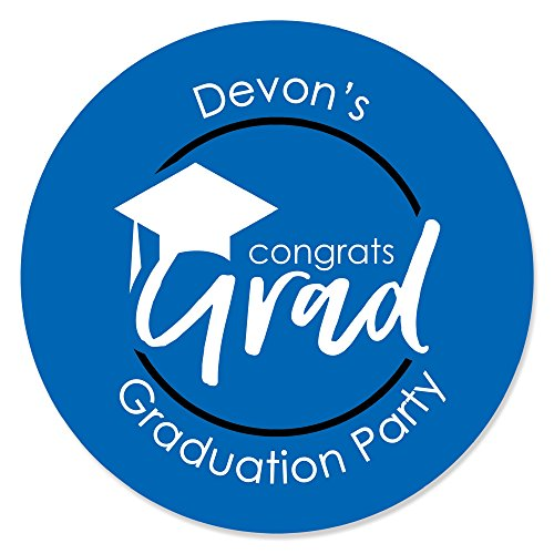 Personalized Blue Grad - Best is Yet to Come - Custom Royal Blue Graduation Party Favor Circle Sticker Labels - Custom Text - 24 Count