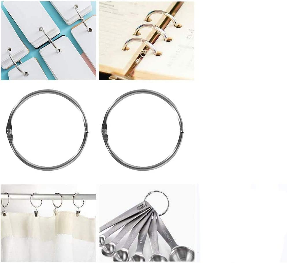 Home Decor 6 Pieces Bathroom 3.5 Inch Loose Leaf Binder Rings Large Book Rings 3.5 Inch Silver Circular Shower Curtain Ring Loops for Drape Extra Large Metal Book Rings Easy to Open and Close