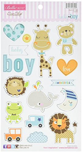 Bella Blvd 1143 Cute Baby Boy Chipboard Icons, Multicolor Baby Chipboard