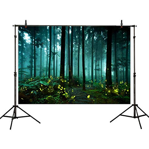 Allenjoy 7x5ft Enchanted Forest Scene Backdrop Party Decorations Photography Backdrops Scene Setters Blue Green Forest Backdrop ()