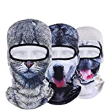 Sikey Windproof Face Mask Multi-Purpose Outdoor Winter Sports Thermal Hood Hat Neck Warmer 3D Animal Style Ski Mask,3Pcs (A)