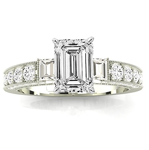 14K White Gold 1.12 CTW Gorgeous Prong Set Round And Half Bezel Baguette Diamond Engagement Ring w/0.54 Ct GIA Certified Emerald Cut F Color SI1 Clarity (Diamond Emerald Jewelry Set)
