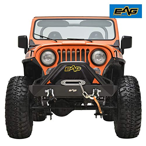 EAG Stubby Black Front Bumper with Winch Plate for 76-86 Jeep Wrangler CJ