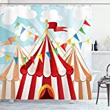 Ambesonne Circus Shower Curtain, Circus Stripes Sunshines Through Cloudy Sky Traditional Performing Arts Theme, Cloth Fabric Bathroom Decor Set with Hooks, 84' Extra Long, Red White