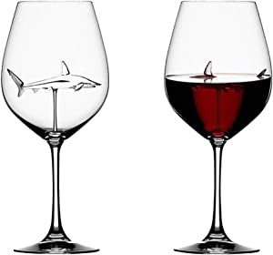 Futurelove Shark Wine Glasses with Shark Inside Goblet Bottle Crystal Shark Red Wine Glasses 21X6 cm 300ml - Creative Italian Goblet Wine Glasses for Adult Party Wedding Home Gifts Set (2PCS)