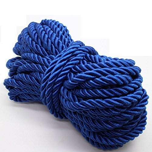 U Pick 10yds 5mm Decorative Twisted Satin Polyester Twine Cord Rope String Thread Shiny Cord Choker Thread (08:Royal Blue)