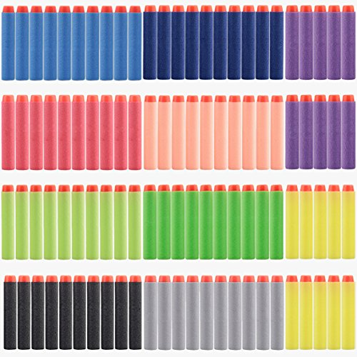Refill Bullet Darts for Nerf Guns N-Strike Elite 7.2cm 100pcs 10 Different Color Red, Purple, Litte Green, Black, Yellow, Green, Little Blue, Dark Blue, Grey, Orange