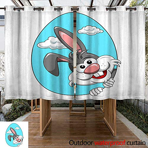RenteriaDecor Outdoor Curtains for Patio Sheer Cute Rabbit or Bunny peek a Boo from Egg Shape Isolated W108 x L72