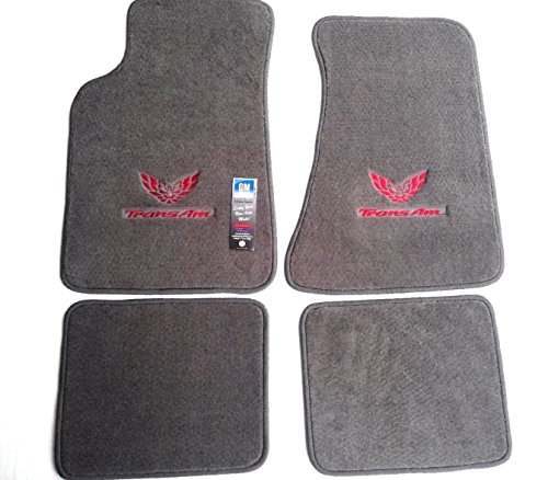 Avery's Floor Mats Part Compatible with Pontiac Firebird Trans AM 4 Piece Custom Fit Gray Carpet Floor Mat Set with GM Licensed Firebird/Trans AM Logo on Front Mats - Fits 1982-2002