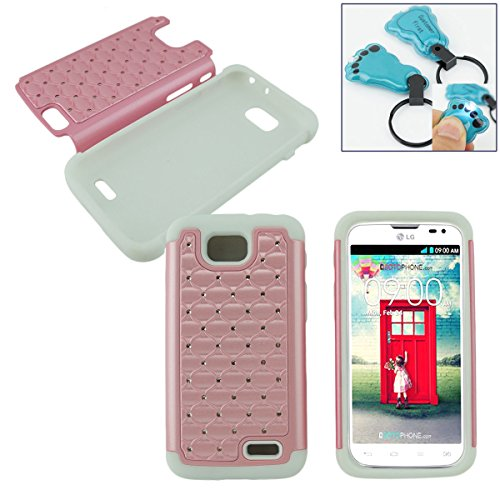 ond Studded Silicone Rubber Skin Hard Case For LG Optimus L90 D415 T-Mobile 4G - Free Flash Light Key Chain (D LIGHT PINK WHITE) ()
