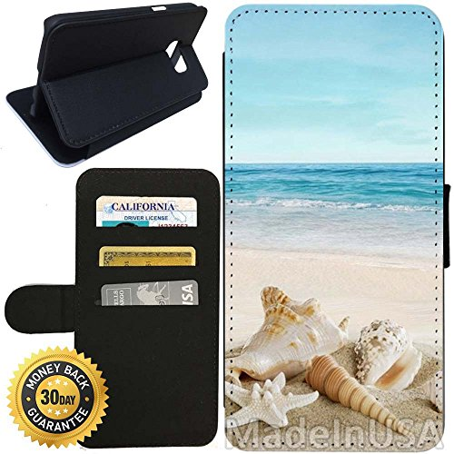Flip Wallet Case for Galaxy S7 (Ocean Theme Starfish and Seashell On Beach) with Adjustable Stand and 3 Card Holders | Shock Protection | Lightweight | Includes Stylus Pen by Innosub (Samsung S7 Edge Best Themes)