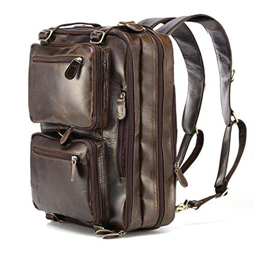 BAOSHA HB-22 Vintage lienzo bolso de mano hombres del maletín mochila Convertible bolsa de ordenador portátil mochila de viaje senderismo mochila marrón café 38.5 x 28.5 x 13 CM (Azul) Cuero Genuino Marrón para Laptop de 13~15.6 pulgadas