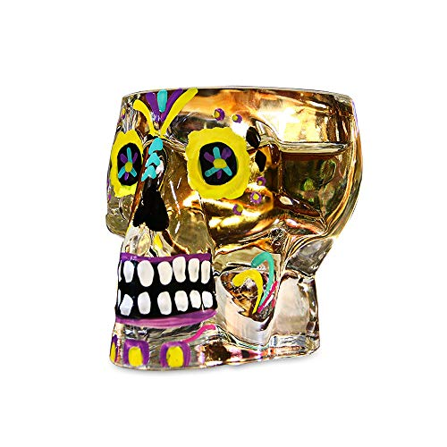 (DKY Shot Glass Sugar Skull Crystal 3D Pirate Cocktail Glasses 2.5 ounce, Whisky Glass Wine Glass Beer Mug drinking glasses Gift for)