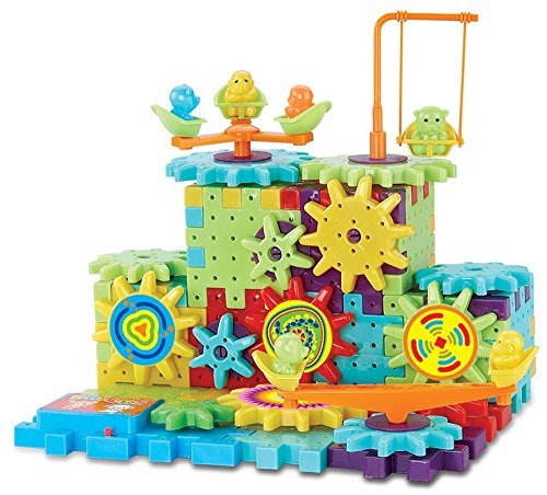 Interlocking Gears Building Blocks Construction Set Motorized Spinning Wheels With Multiple Variations - 81 pc 3D Learning (Mechanical Toys For Toddlers)