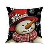 Tsmile Pillow case Linen Square Throw Flax Sofa Bed Home Decoration Cushion Merry Christmas Festival Pillow Covers (45cm X 45cm)