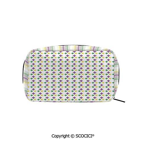 (Rectangle Printed Beauty Cosmetic Bag Pouch Fleur De Lis in Mardi Gras Carnival Colors Ancient Festival Pattern Decorative Women fashion Toiletry Travel Bag)