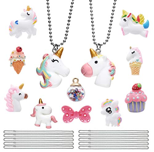 12 Pack Unicorn Favors Pendant Necklace Collection, with Bowknot Ice Cream Cupcake Wish Ball Charms Set, Box Packing Gift for Girls