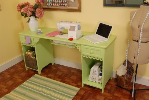 Arrow Sewing Cabinet Olivia Sewing Table with Base Shelves and Drawer - Pistachio Green