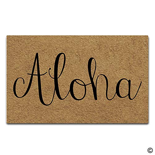 Artswow Funny Door Mat Entrance Floor Mat Aloha Door Mat Decorative Indoor Outdoor Doormat Enterways Non-Slip Rubber Backing Mat 23.6