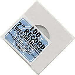 (100) White Paper Innersleeves With a Hole for 7\
