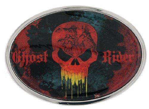 Jewel M Ghost Rider Logo Round Belt Buckle ()