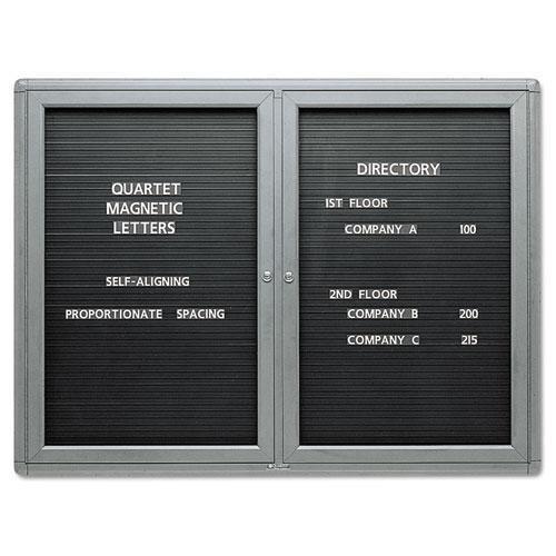 Quartet 2964LM 2-Door Enclosed Magnetic Directory, 48 x 36, Black, Gray Frame
